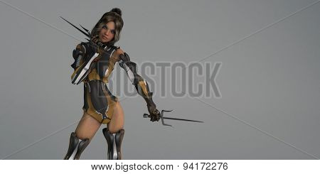 cyborg female with sai