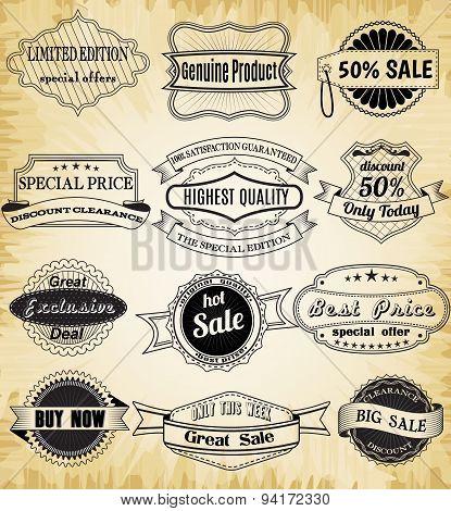 Collection of old vintage label for design.