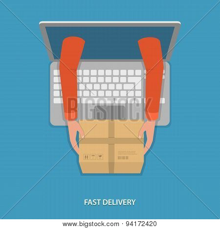 Fast goods delivery vector illustration.