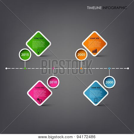 Time Line Info Graphic With Square Design Element Template