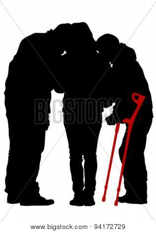 Disabled people with cane on white background