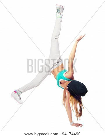 Hip Hop Dancer Dancing Isolated On White Background