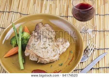 T-bone Pork Steak And Red Wine