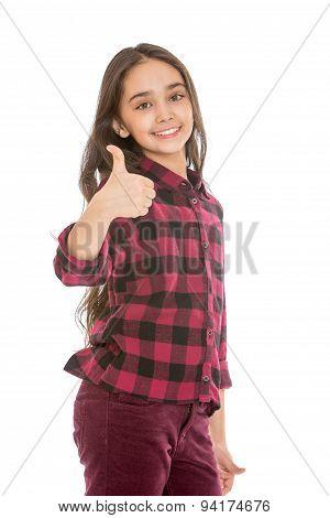 beautiful dark haired teen girl showing gesture of praise