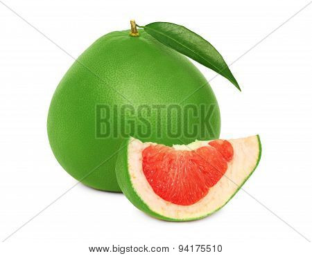 One Whole Green Pomelo And Slice (isolated)