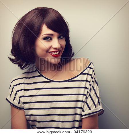Happy Young Woman With Short Hairstyle Toothy Smiling. Vintage Closeup Portrait