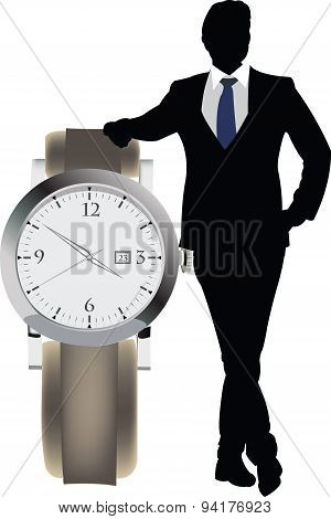 manager with clock appointment