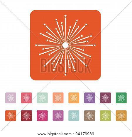 Firework Icon. Holiday Symbol. Flat