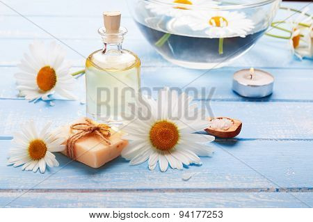 Spa Still Life With Camomile Flowers