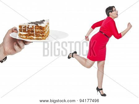 Beautiful Plus Size Woman Run Away From Cake Isolated