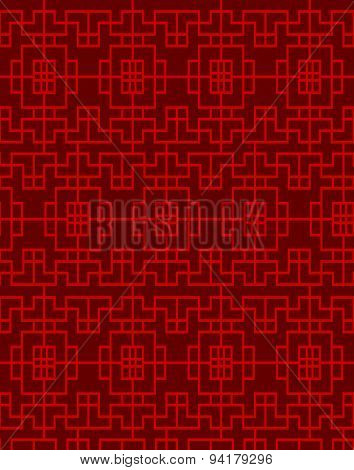 Seamless vintage Chinese window square geometry check pattern background.