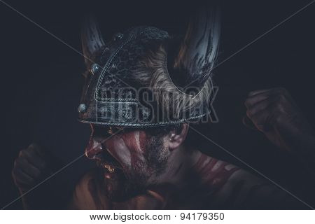 Expression, Viking warrior with a horned helmet and war paint on his face