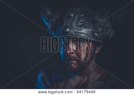Death, Viking warrior with a horned helmet and war paint on his face