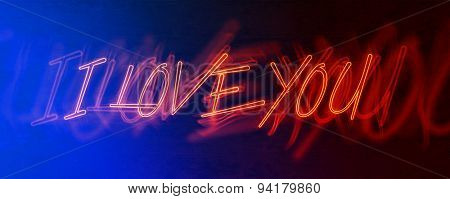 Panoramic Image of Blurred Red Neon Sign with Passionate Exclamation of I Love You