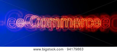 Panoramic View of Red Neon E-Commerce Sign, Business Concept Image on Blue to Black Gradient Background