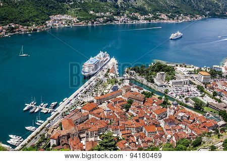 View Of The Navy Pier And The Rooftops Of The Old Town Of Kotor With Bird's-eye View
