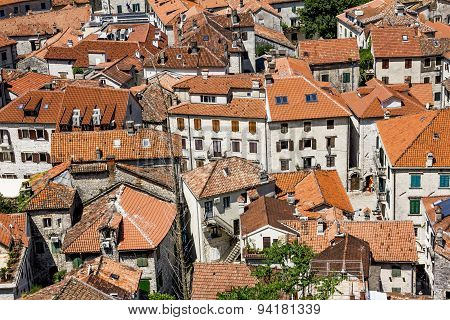 View Of The Roofs Of Houses In The Old Town Of Kotor