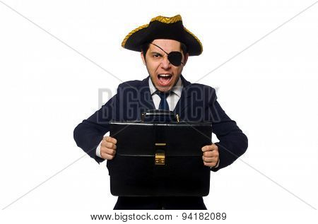 Young one eyed captain with briefcase isolated on white