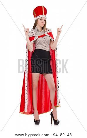 Pretty woman wearing crown and red coat isolated on white