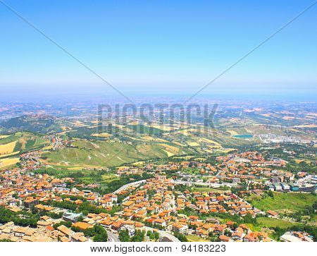 Beautiful Italian landscape. View from heights of San Marino