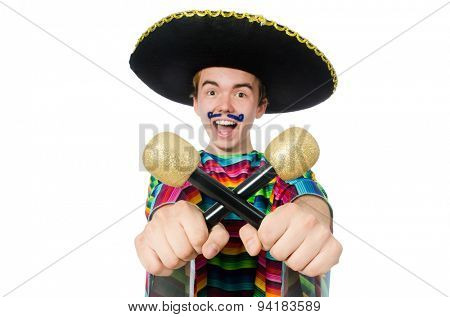 Funny young mexican shaking maracas isolated on white