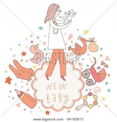 Sweet baby card in pink colors with baby, doctor, toys, stork, beanbag, pacifier, rabbit, duck and other children symbols