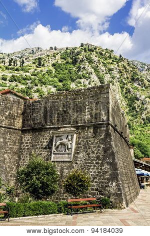 View Of The Ramparts And The Mountains In The Old Town Of Kotor