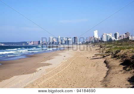 Durban Coastline At Low Tide With Hotels In Distance