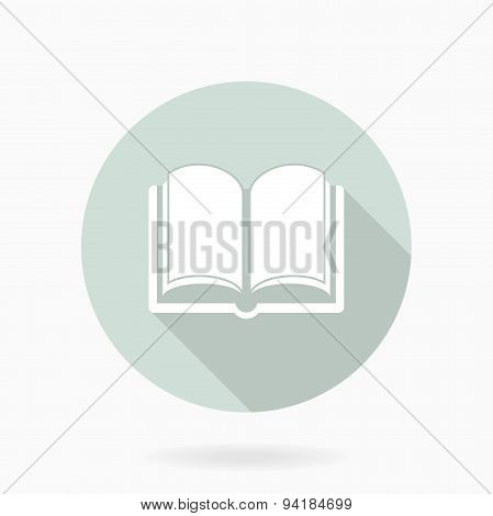 Fine  Book White Icon With Flat Design
