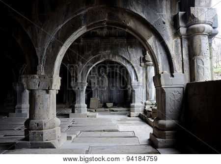 Colonnade inside medieval christian church of Sanahin Monastery complex,unesco heritage Armenia,Asia