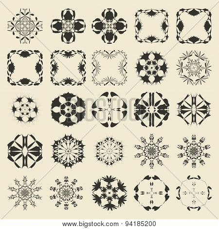 25 round and polygonal ornament element set. Twenty five  monochrome sample object collection.  Circ