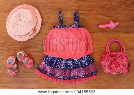 Summer children's clothing: dress, purse, hat, shoes