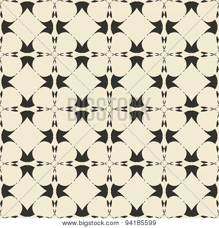 Geometric ornament seamless pattern.  Monochrome design template seamless background. Round, polygon