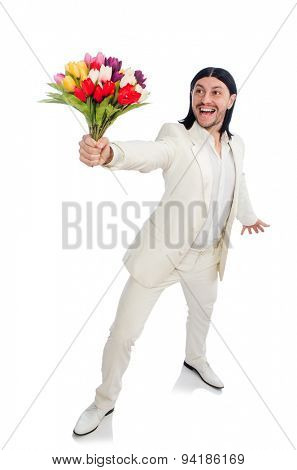 Man with tulip flowers isolated on white