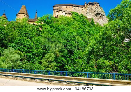 Orava Castle seen from the bridge, Slovakia