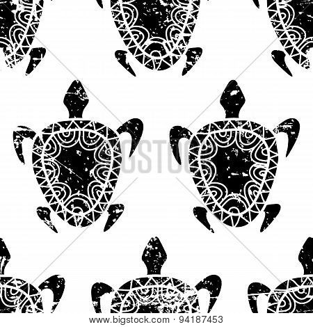 Vector Seamless Summer Grunge Pattern. Hand Drawn Black Turtle Isolated On White Background.
