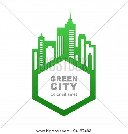 City Buildings Silhouette. Vector Logo Design Template. Green Frame For Text. Abstract Concept For R