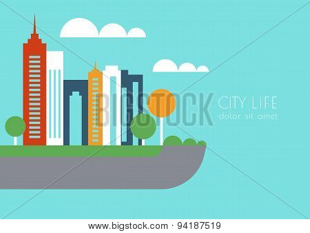 Vector City Buildings And Trees Silhouette, Abstract Flat Background. Concept For Real Estate Agency