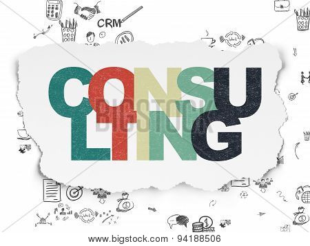 Business concept: Consulting on Torn Paper background