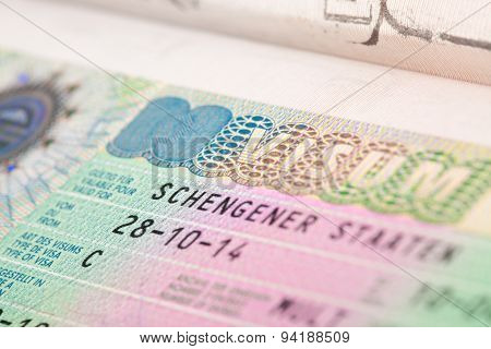 Eu Schengen Zone Visa In Passport - Close Up Shot