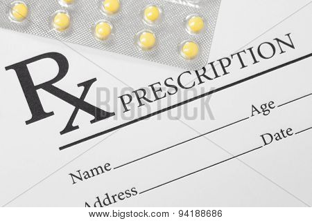 Medical Drug Prescription And Pills Over It