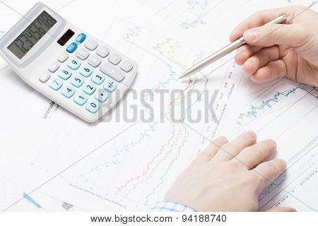 Business Man Working With Market Data