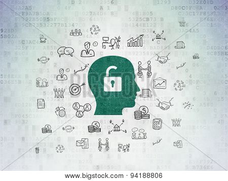 Business concept: Head With Padlock on Digital Paper background