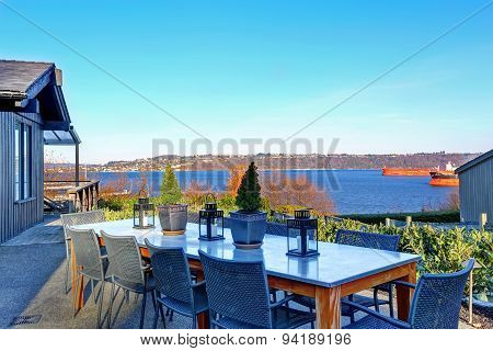 Perfect Tacoma Waterfront House Exterior With Winter Decor.