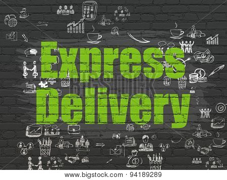 Business concept: Express Delivery on wall background