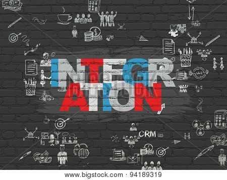 Business concept: Integration on wall background