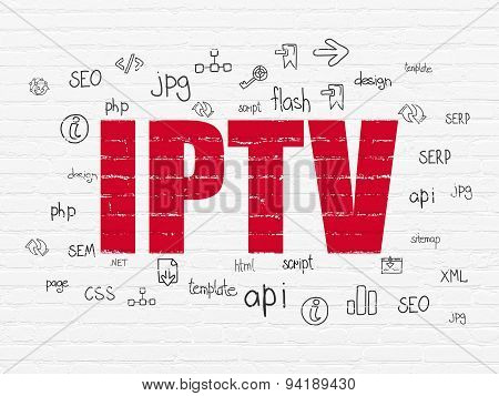 Web development concept: IPTV on wall background