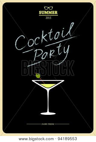 Vector Illustration With Cocktail On Black Background.