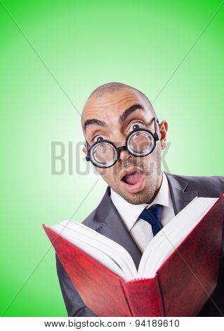 Nerd funny businessman against gradient