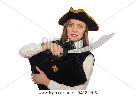 Pirate girl holding bag and sword isolated on white